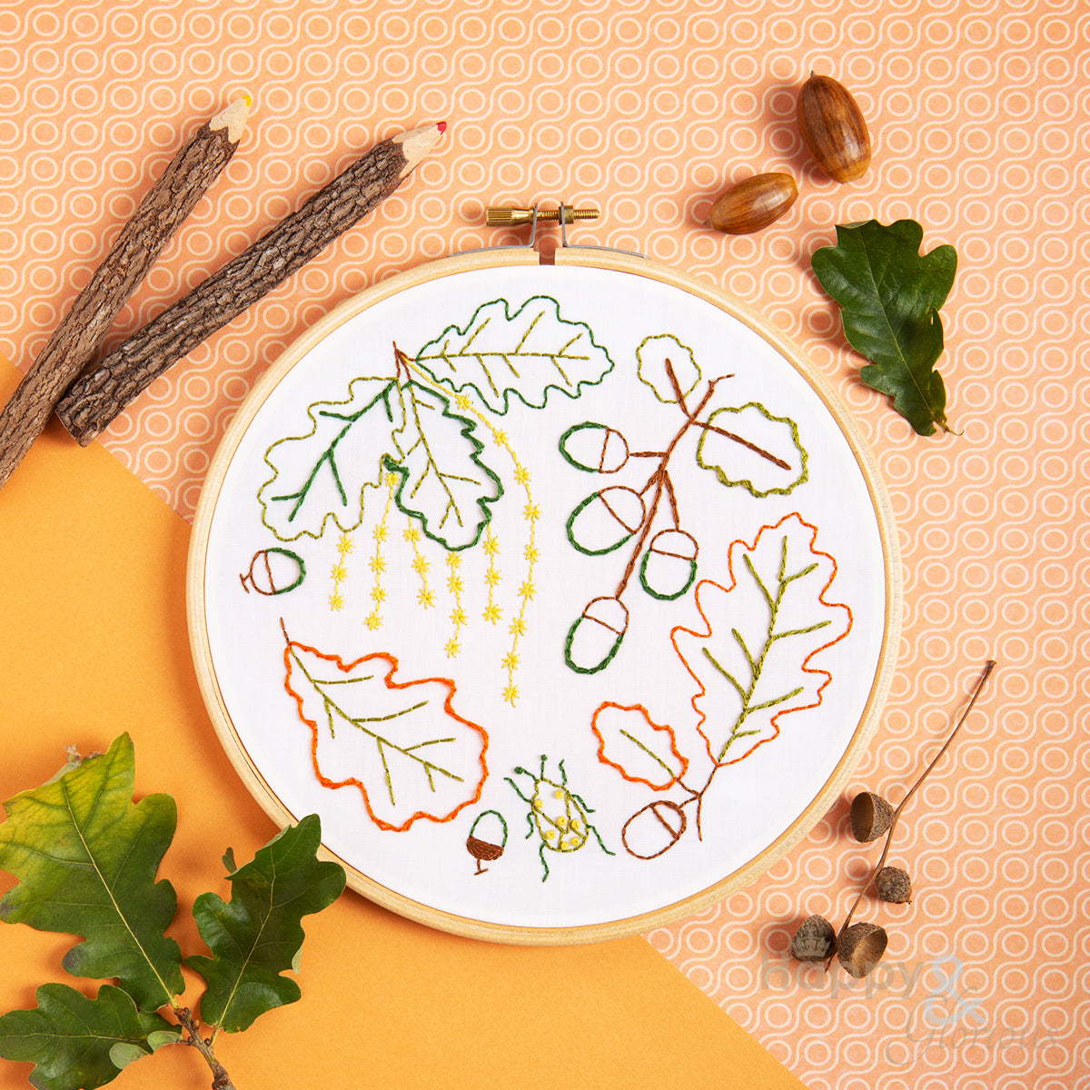 Ancient Oak contemporary embroidery craft kit