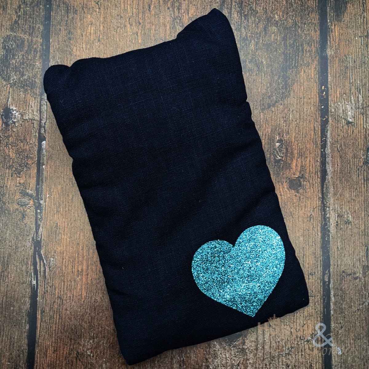 Linen mini hot water bottle with aqua blue glitter heart