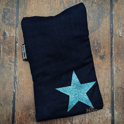 Linen mini hot water bottle with aqua blue glitter star