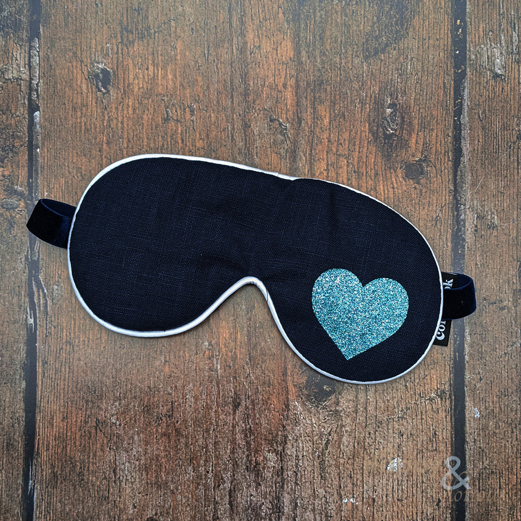 Lavender filled linen fabric eye mask with aqua glitter heart