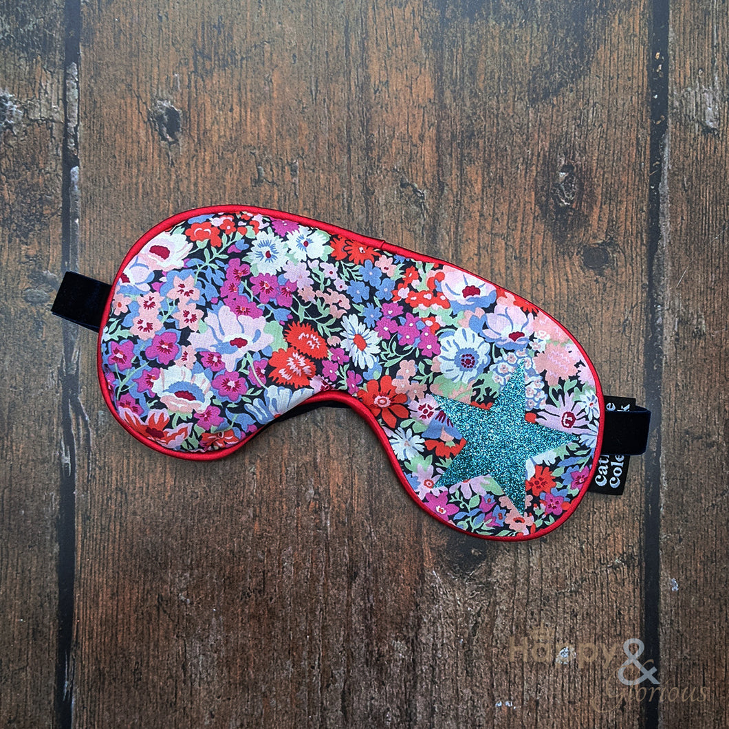 Lavender filled Liberty fabric eye mask with aqua glitter star