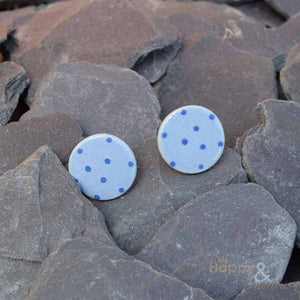 Blue spotty ceramic stud earrings by Stockwell Ceramics