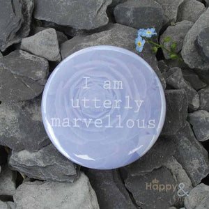 Blue 'I am utterly marvellous' pocket mirror in gift bag