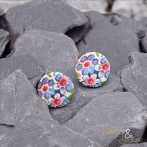 Blue & pink forget-me-not ceramic stud earrings by Stockwell Ceramics