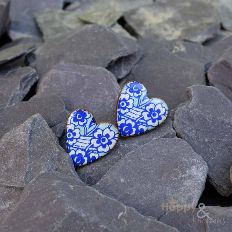 Blue & white heart shaped ceramic stud earrings by Stockwell Ceramics