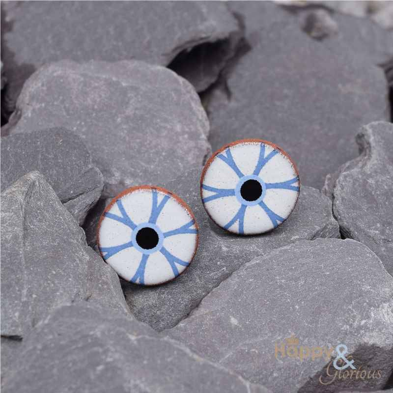 Blue & white flower outline ceramic stud earrings by Stockwell Ceramics