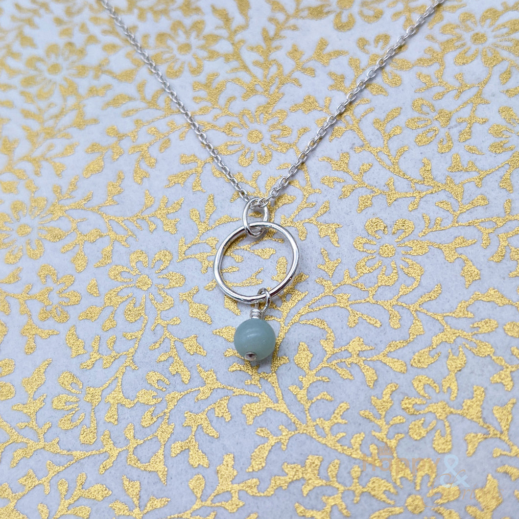 Sterling silver & amazonite hoop necklace