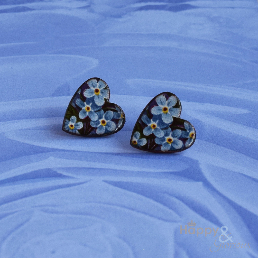 Blue forget-me-not ceramic heart stud earrings by Stockwell Ceramics