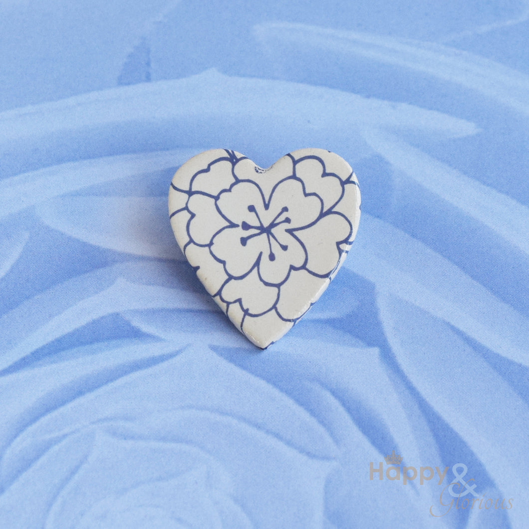 Purple and white floral heart ceramic brooch by Stockwell Ceramics