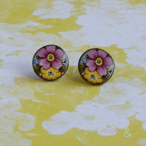 Pink, blue & yellow floral ceramic stud earrings by Stockwell Ceramics