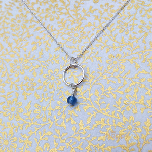 Sterling silver & blue onyx hoop necklace