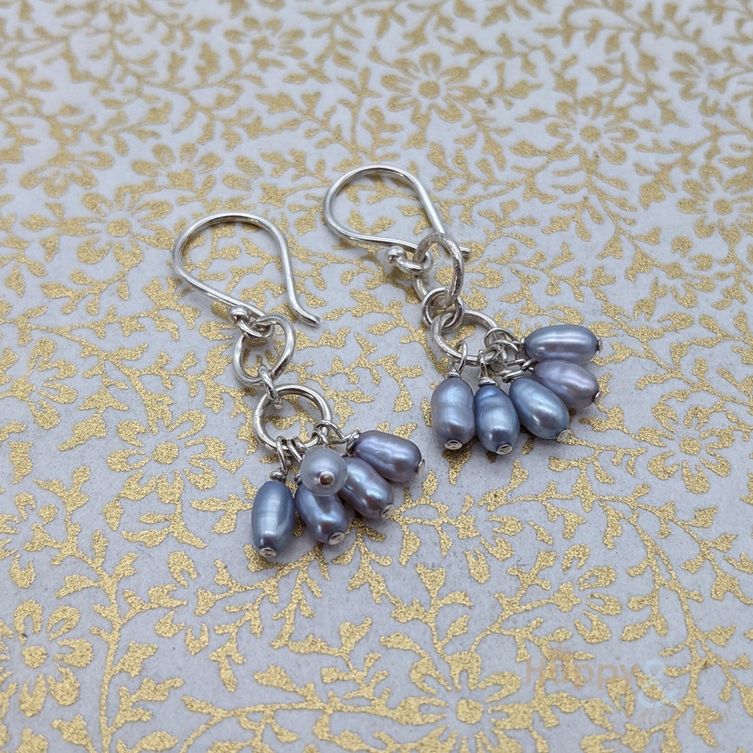 Sterling silver & blue pearl drop earrings