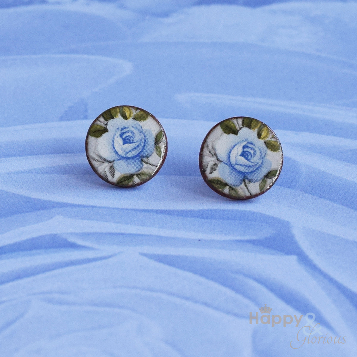 Blue rose ceramic stud earrings by Stockwell Ceramics
