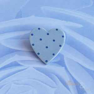 Blue spotty heart ceramic brooch by Stockwell Ceramics