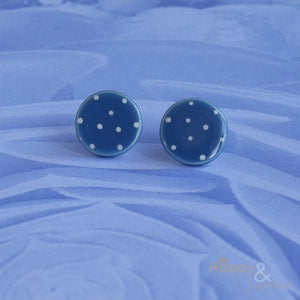Blue & white spotty ceramic stud earrings by Stockwell Ceramics