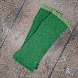 Bright green felted merino wool wristwarmer gloves