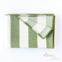 Green 'broadstripe' pure wool blanket by Melin Tregwynt