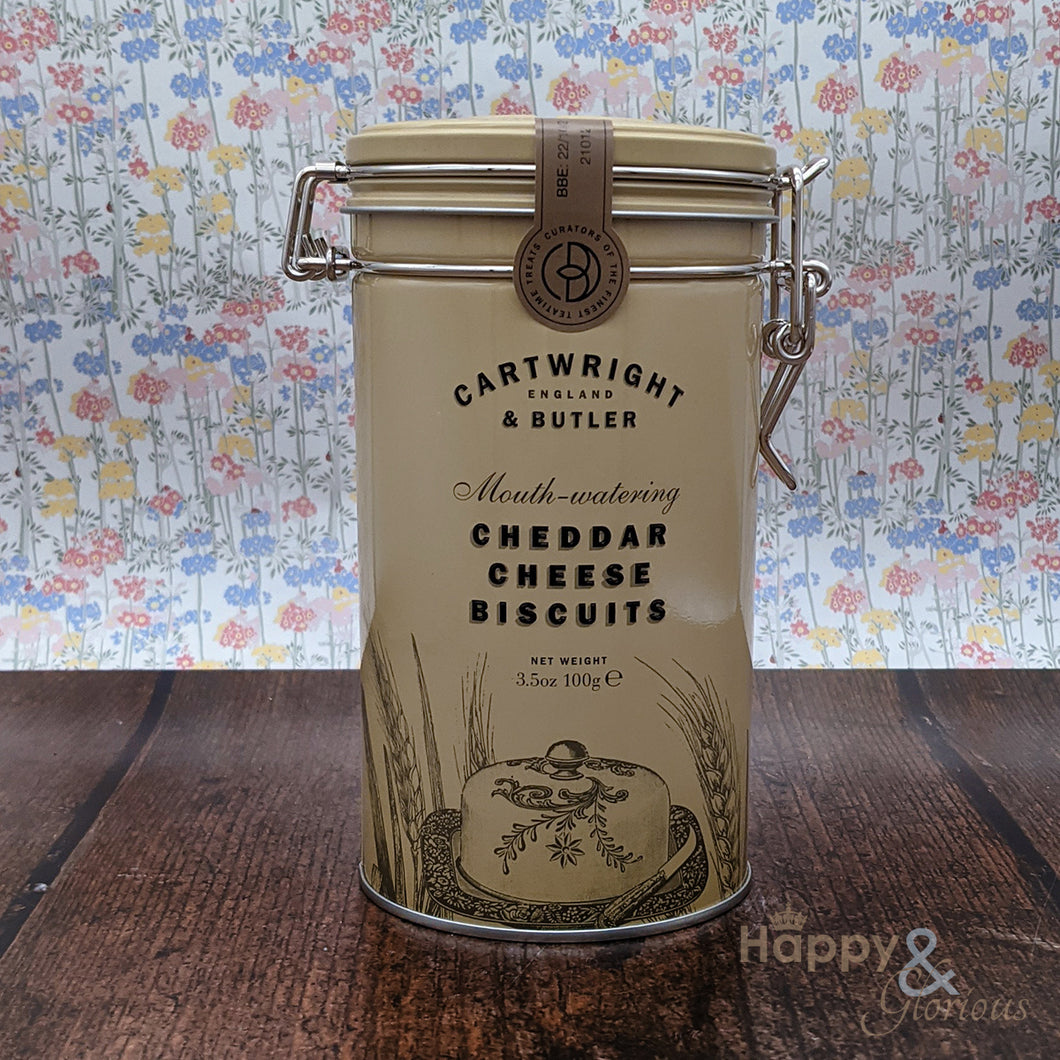 Cheddar cheese biscuits in vintage style tin
