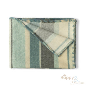 Mint 'Clubstripe' pure wool blanket by Melin Tregwynt