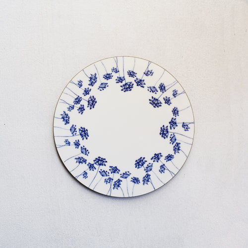Navy blue & white cow parsley silhouette wooden coaster by Kate Tompsett