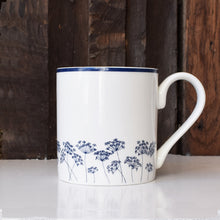Navy blue & white cow parsley silhouette fine china mug by Kate Tompsett