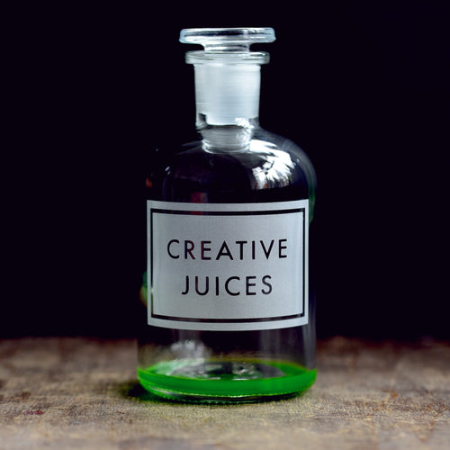 'Creative Juices' etched glass apothecary bottle