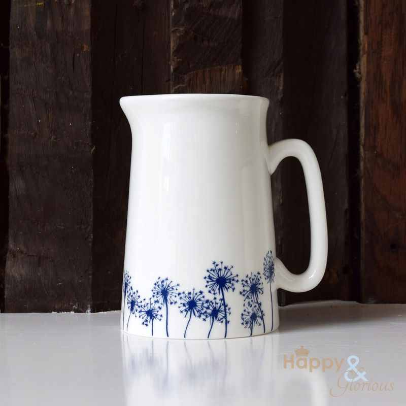 Navy blue & white dandelion silhouette half pint fine china jug by Kate Tompsett