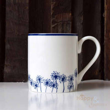 Navy blue & white dandelion silhouette fine china mug by Kate Tompsett
