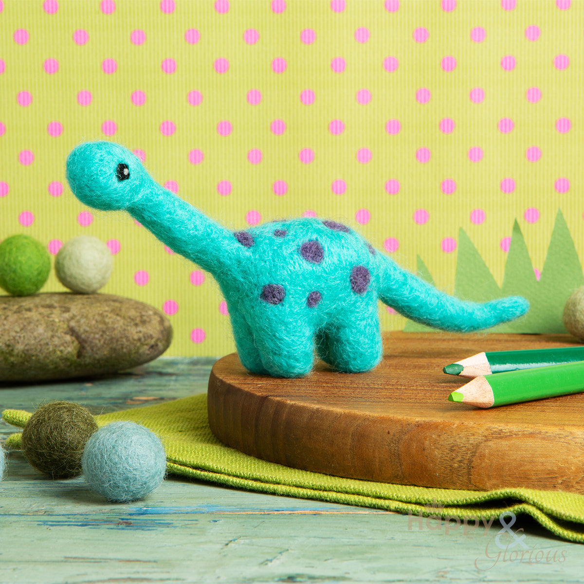 Mini diplodocus needle felting craft kit