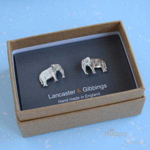 Pewter elephant cufflinks - handmade by Lancaster & Gibbings