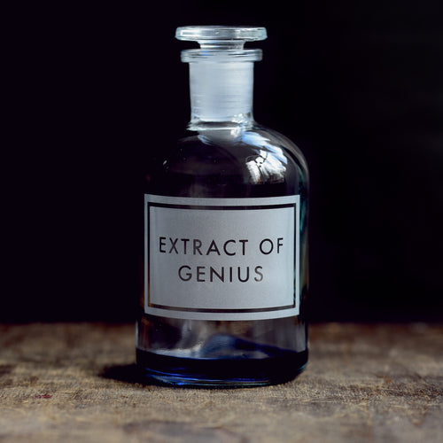 'Extract of Genius' etched glass apothecary bottle