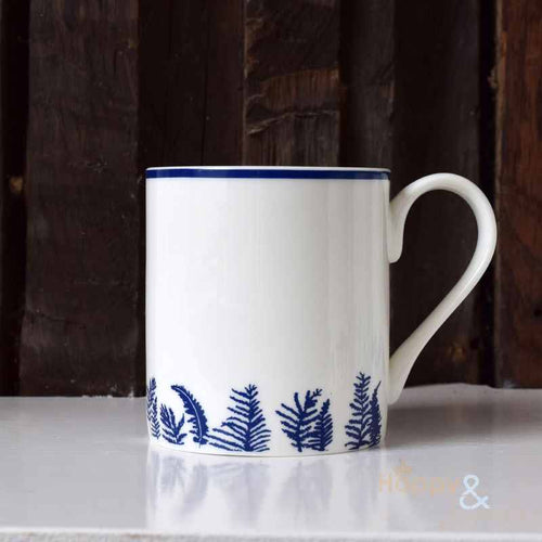 Navy blue & white fern silhouette fine china mug by Kate Tompsett
