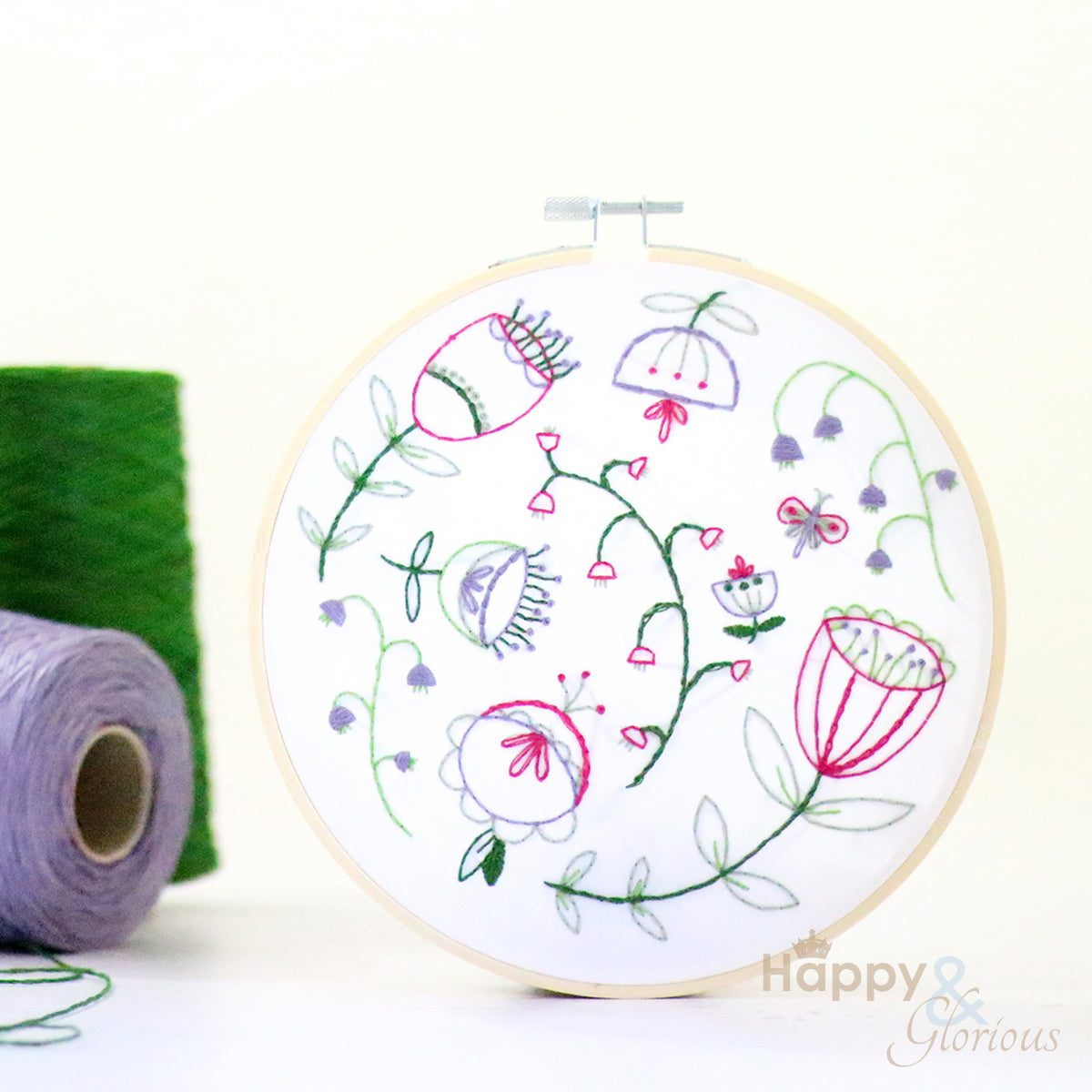 Folk Blossom contemporary embroidery craft kit