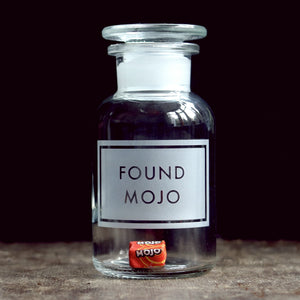 'Found Mojo' etched glass apothecary jar