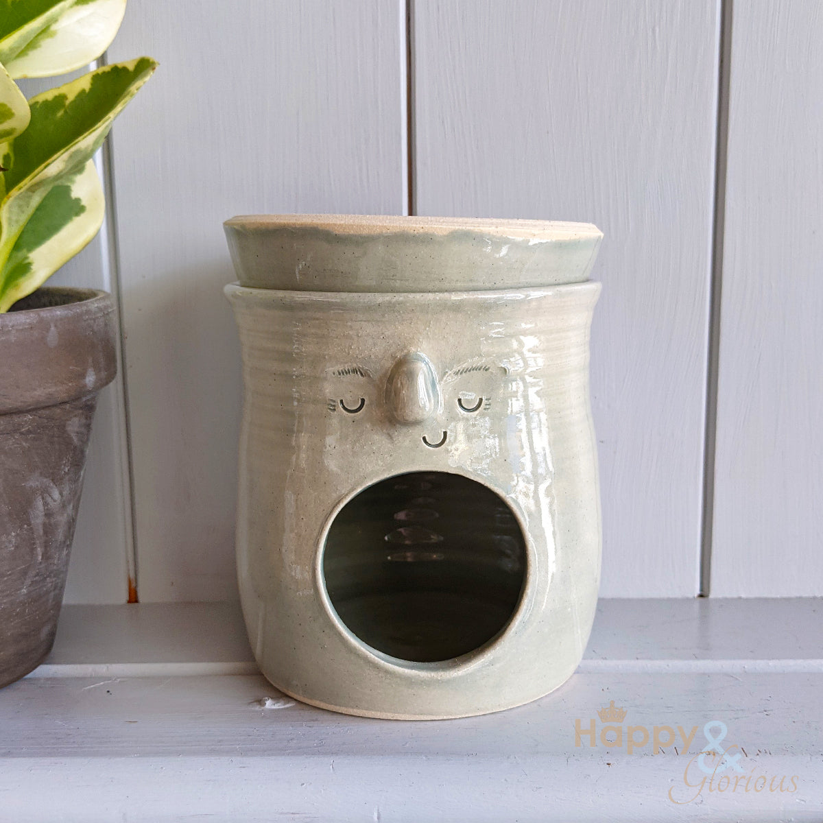 Hand thrown glacier blue stoneware face oil burner