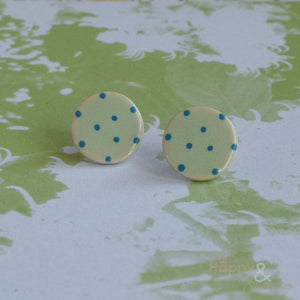 Green & turquoise spotty ceramic stud earrings by Stockwell Ceramics