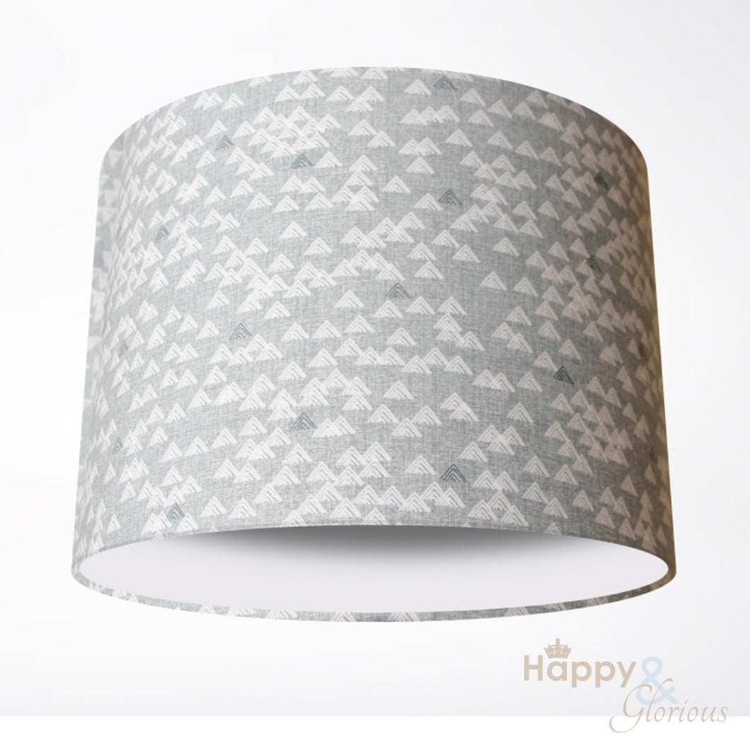 Grey & white mountains lampshade