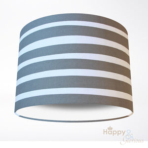 Grey & white seaside stripe lampshade