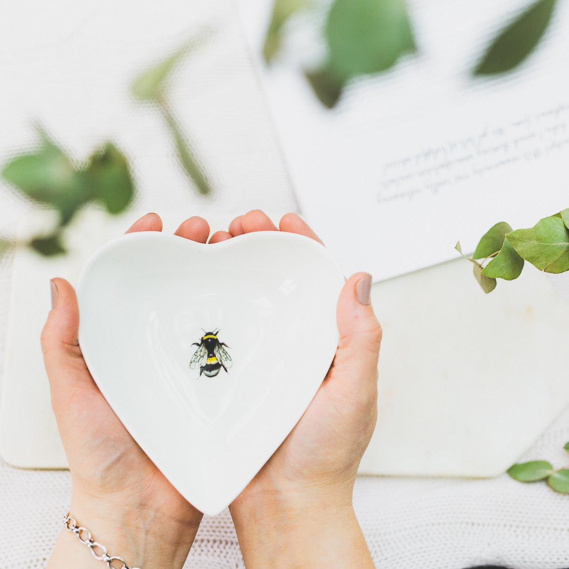 Bee heart shaped china dish