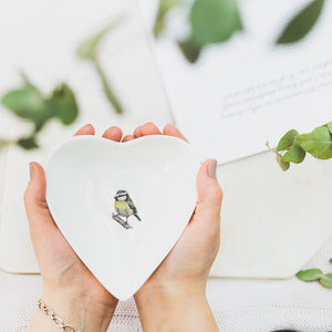 Bluetit heart shaped china dish