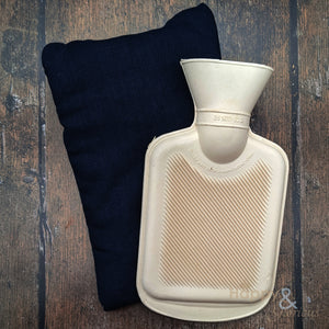 Linen mini hot water bottle with green glitter heart