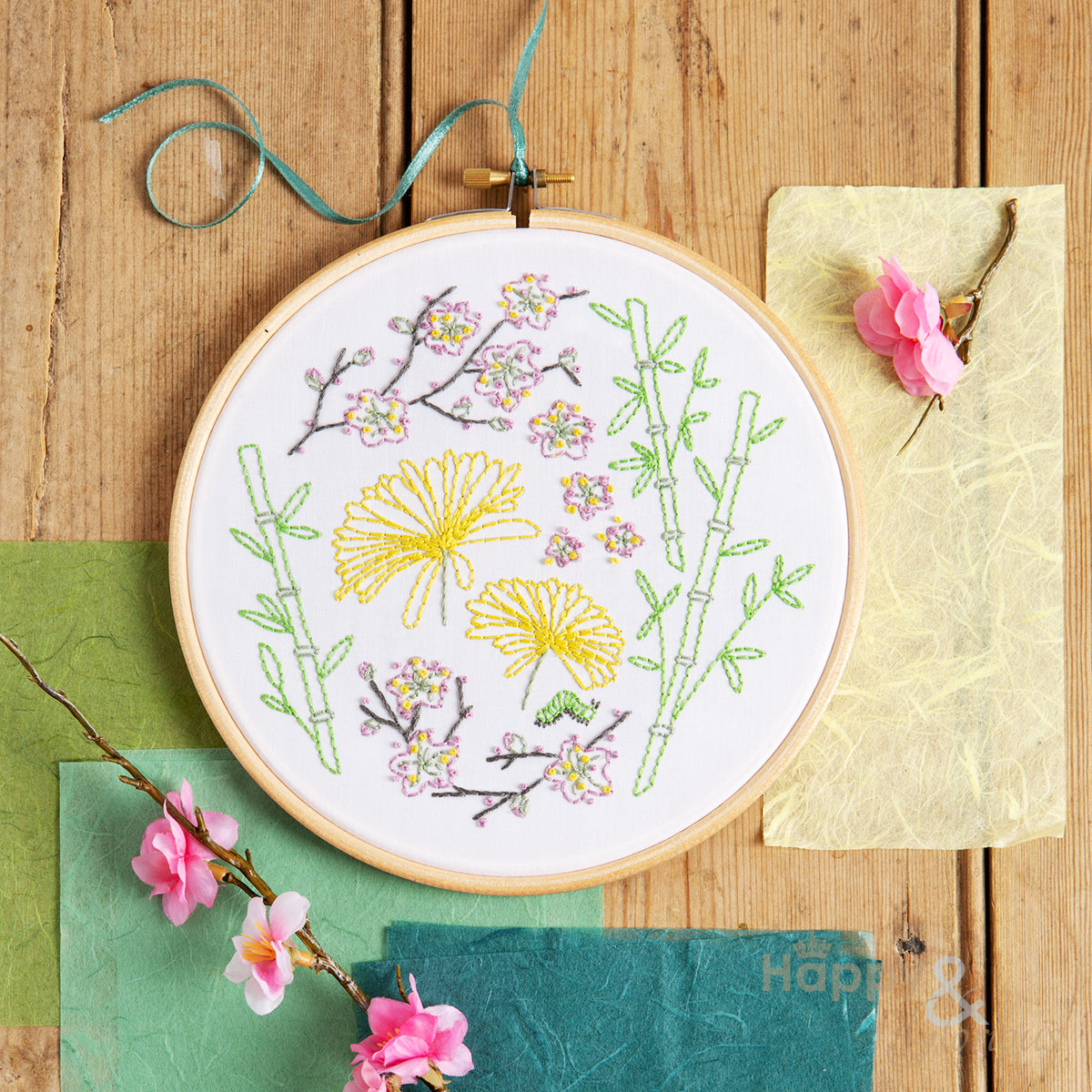 Japanese Garden contemporary embroidery craft kit