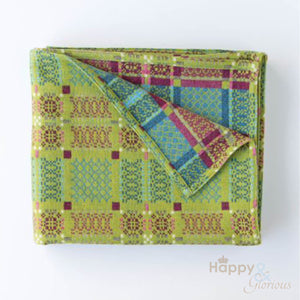 Green 'Knot Garden' pure lambswool throw by Melin Tregwynt
