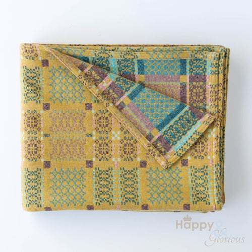 Yellow 'Knot Garden' pure lambswool throw by Melin Tregwynt