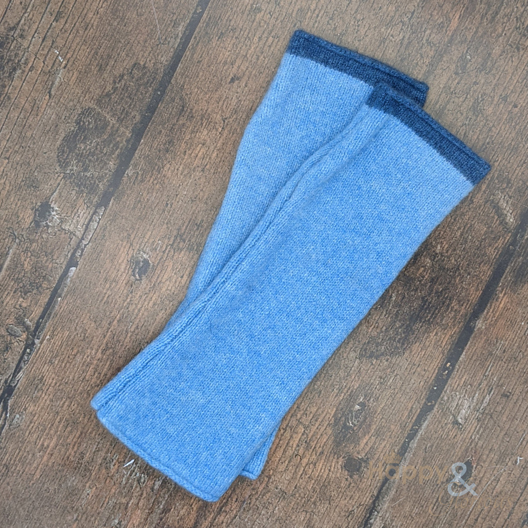 Soft blue felted merino wool wristwarmer gloves