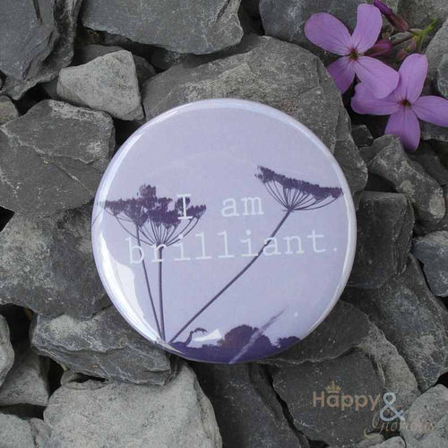 Lilac 'I am brilliant' pocket mirror in gift bag