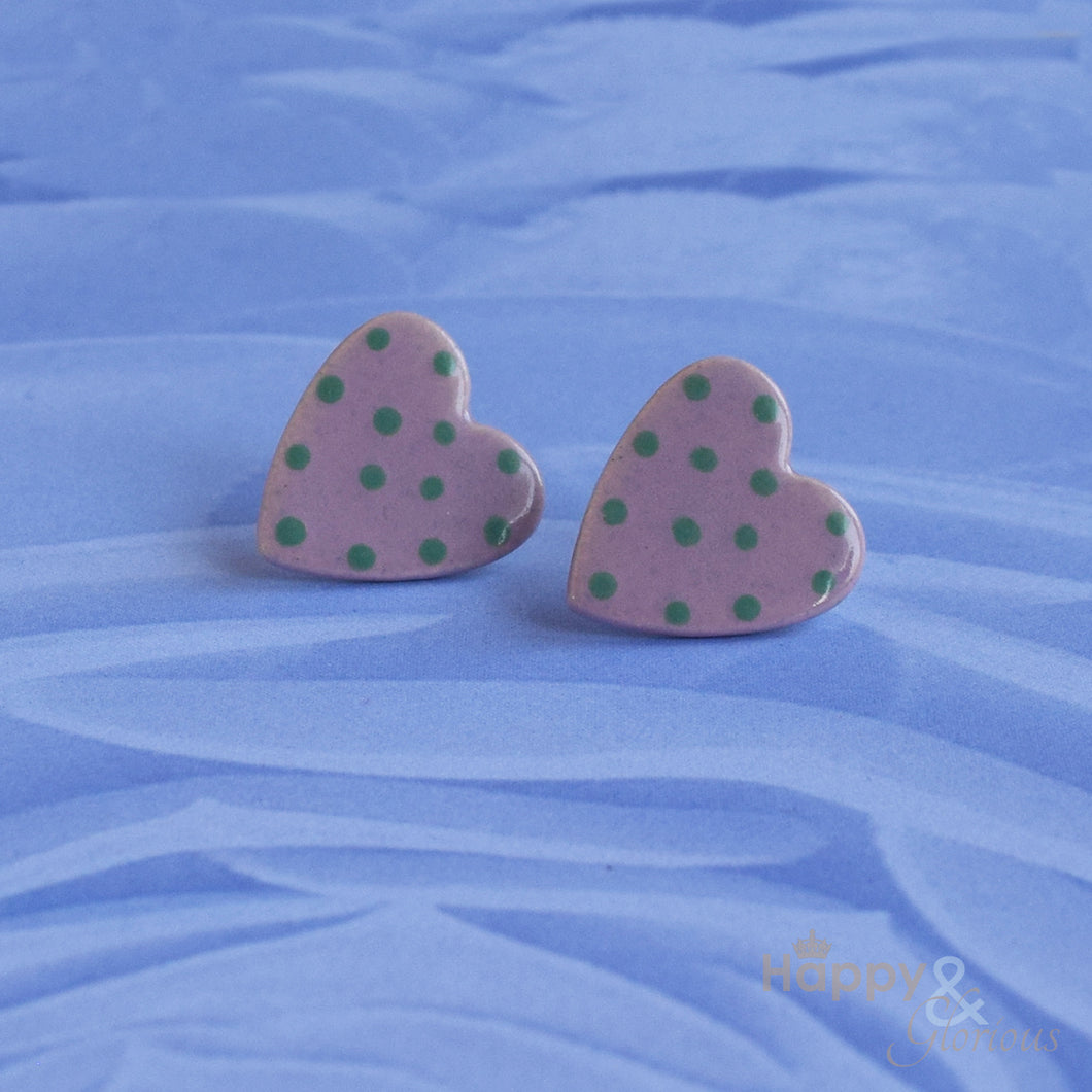 Lilac & green spotty ceramic heart stud earrings by Stockwell Ceramics