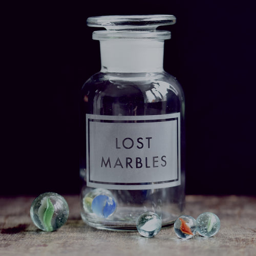 'Lost marbles' etched glass apothecary jar