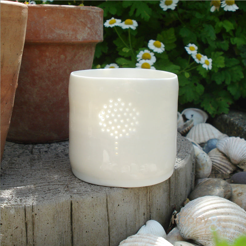 Porcelain topiary tealight candle holder by Luna Lighting