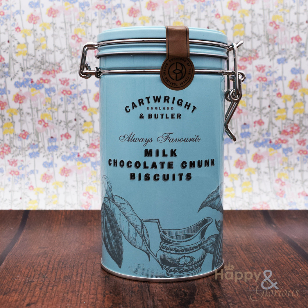 Milk chocolate chunk biscuits in vintage style tin